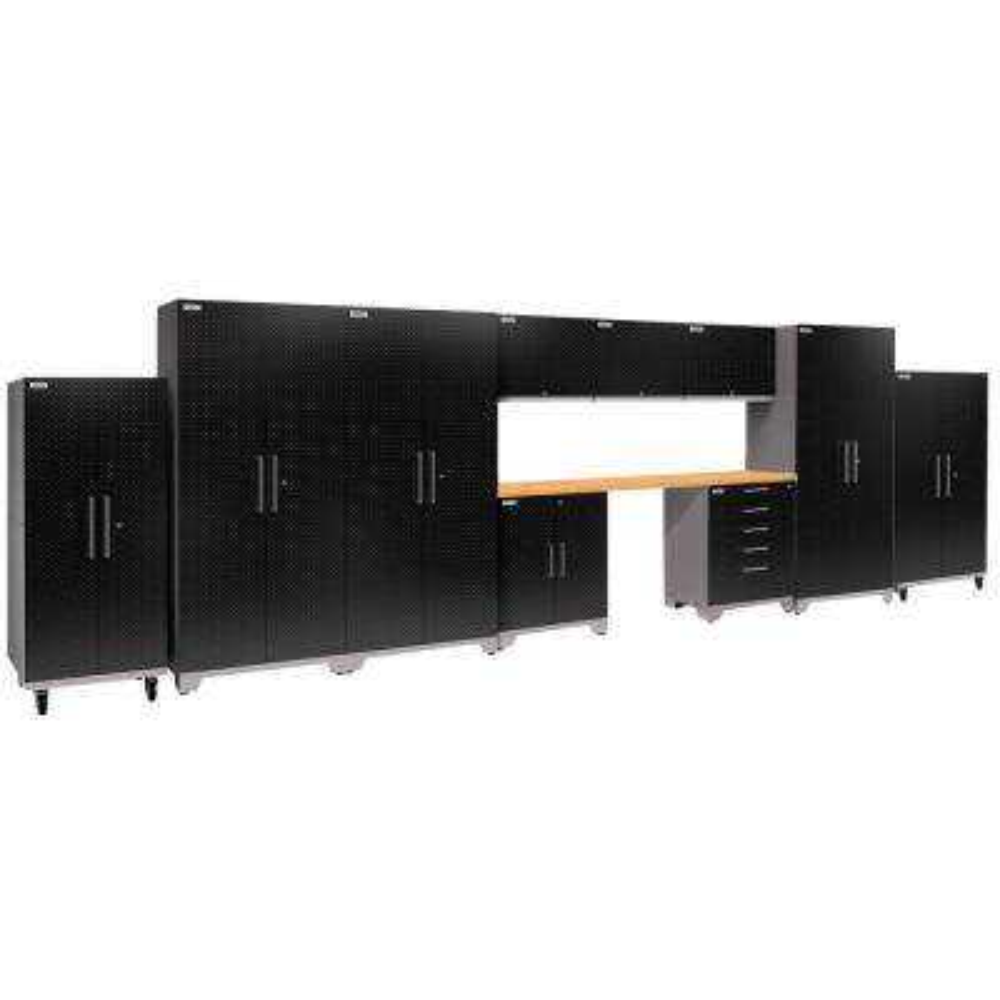 Performance Plus Diamond Plate 2.0 80 in. H x 248 in. W x 24 in. D Garage Cabinet Set in Black (11-Piece)