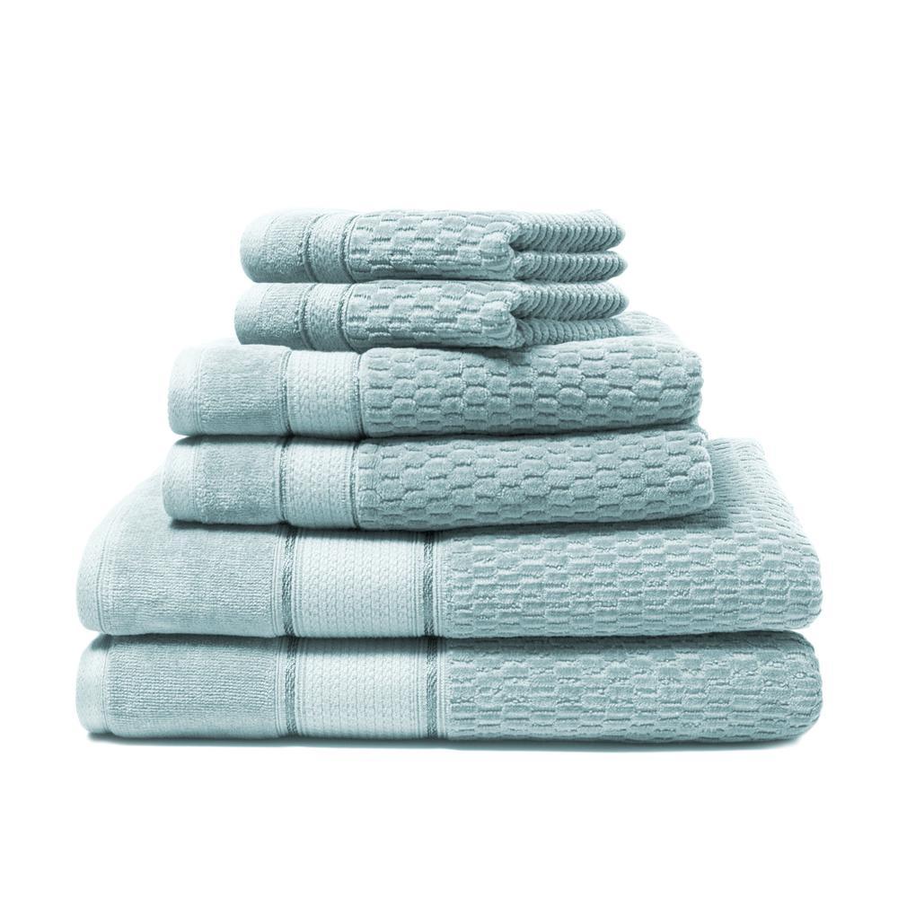 Royale 6 Piece 100 Turkish Cotton Bath Towel Set In Spa Blue