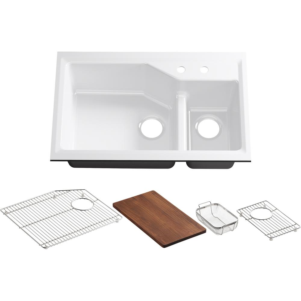 Kohler Indio Smart Divide Undermount Cast Iron 33 In 2 Hole Double Bowl Kitchen Sink Kit In White With Included Accessories K 6411 2 0 The Home Depot