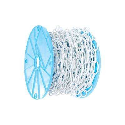 #10 x 100 ft. White Open Oval Decorative Chain - Light-Duty, 45 lbs Safe Work Load - Reeled
