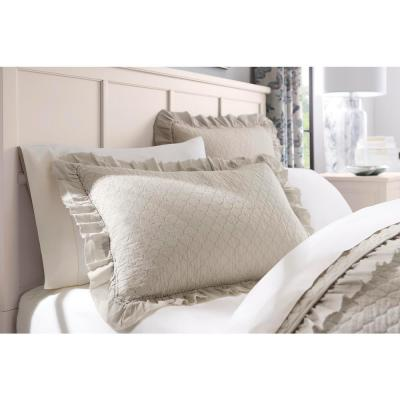 Evalee Cotton Ruffled Petal Solid Quilt Set