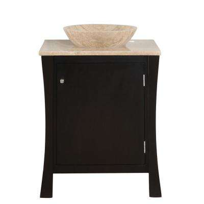 26 in. W x 22 in. D Vanity in Dark Espresso with Stone Vanity Top in Travertine with Vessel Stone Basin