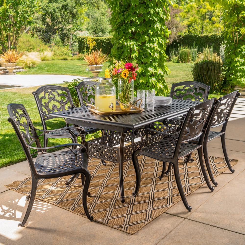 Abigal Shiny Copper 7-Piece Aluminum Outdoor Dining Set