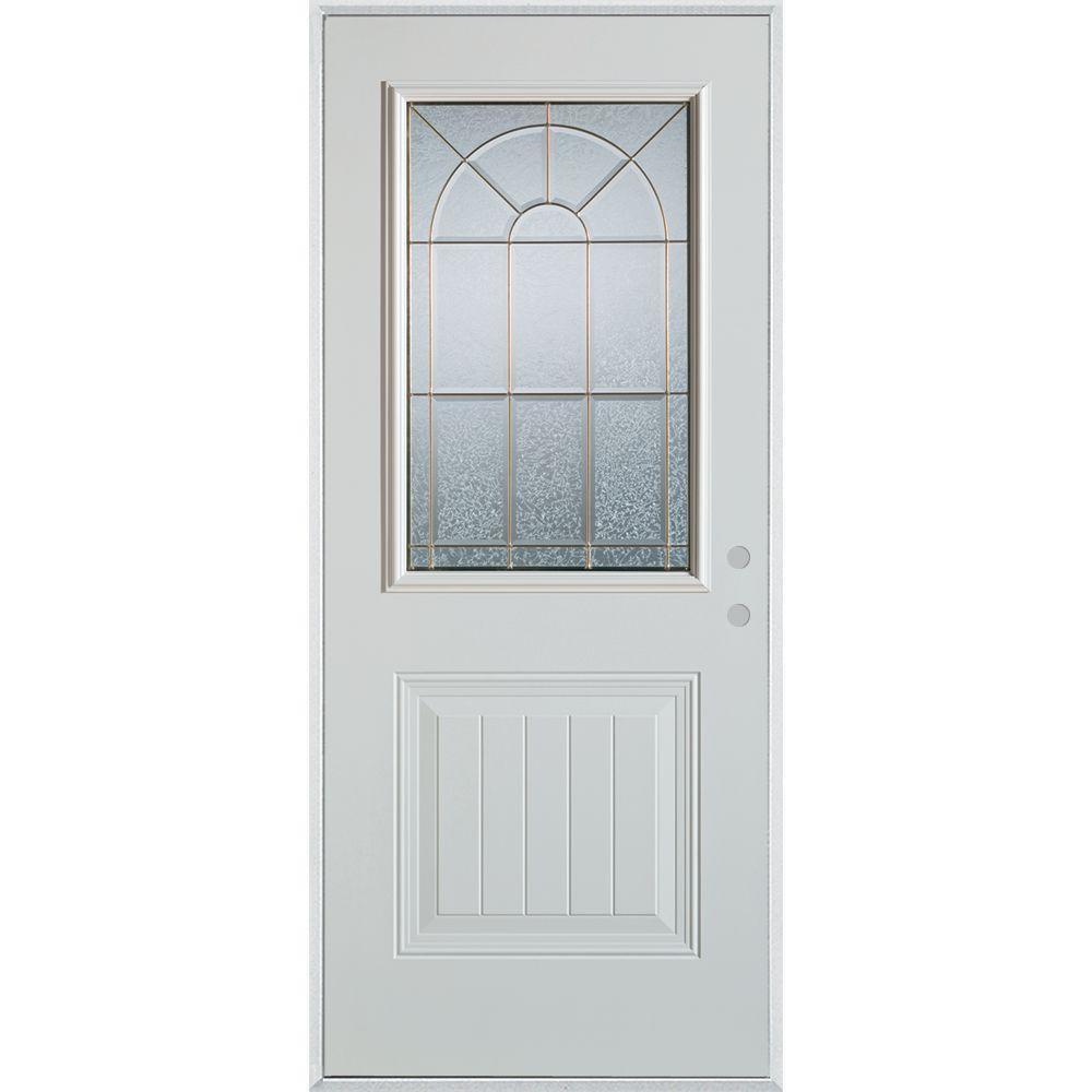 Stanley Doors 33.375 in. x 82.375 in. Geometric Zinc 1/2 Lite 1-Panel Painted White Left-Hand Inswing Steel Prehung Front Door