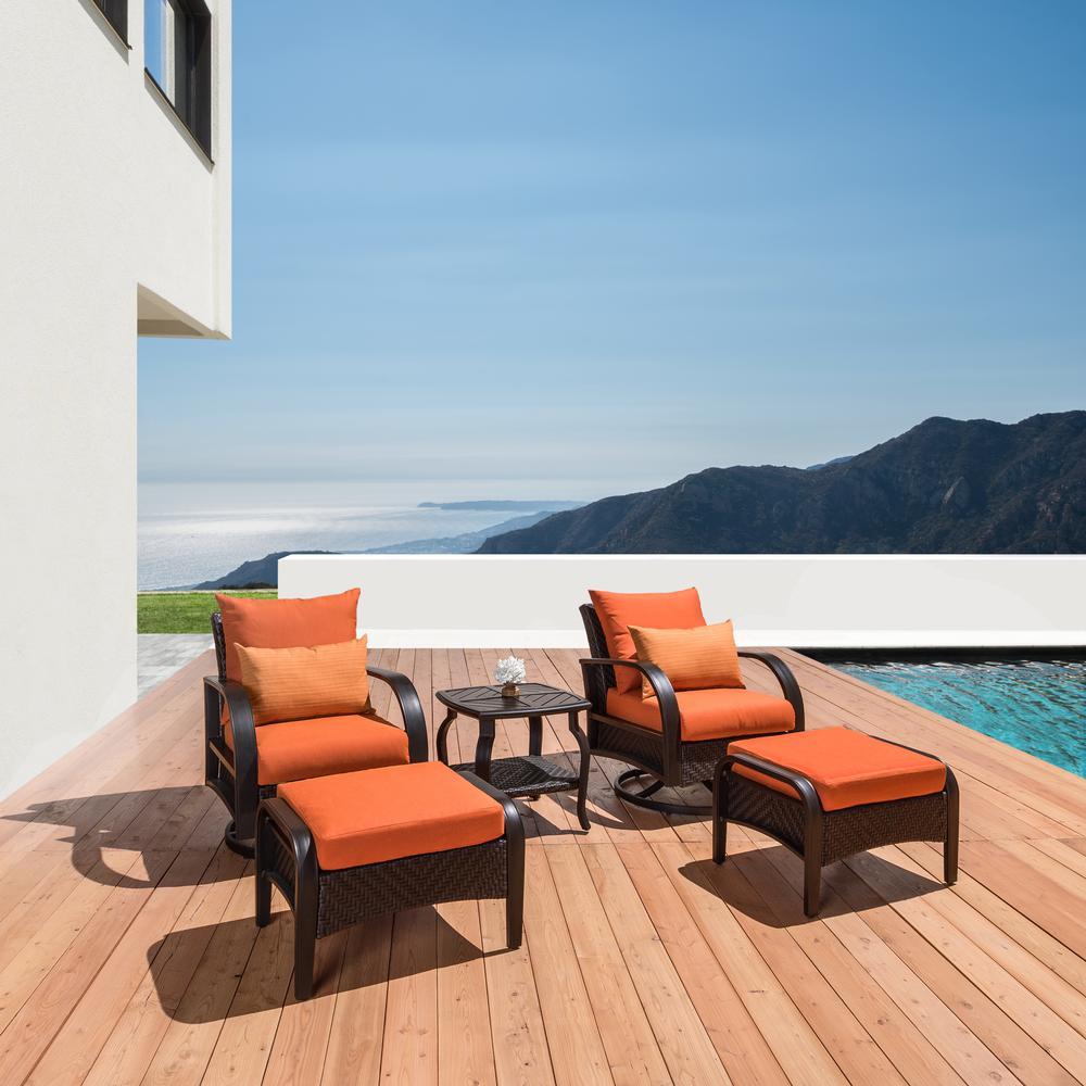 Barcelo 5-Piece Motion Wicker Patio Deep Seating Conversation Set with Sunbrella Tikka Orange Cushions
