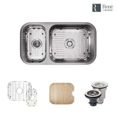 Undermount Stainless Steel 32-1/4 in. Right Double Bowl Kitchen Sink