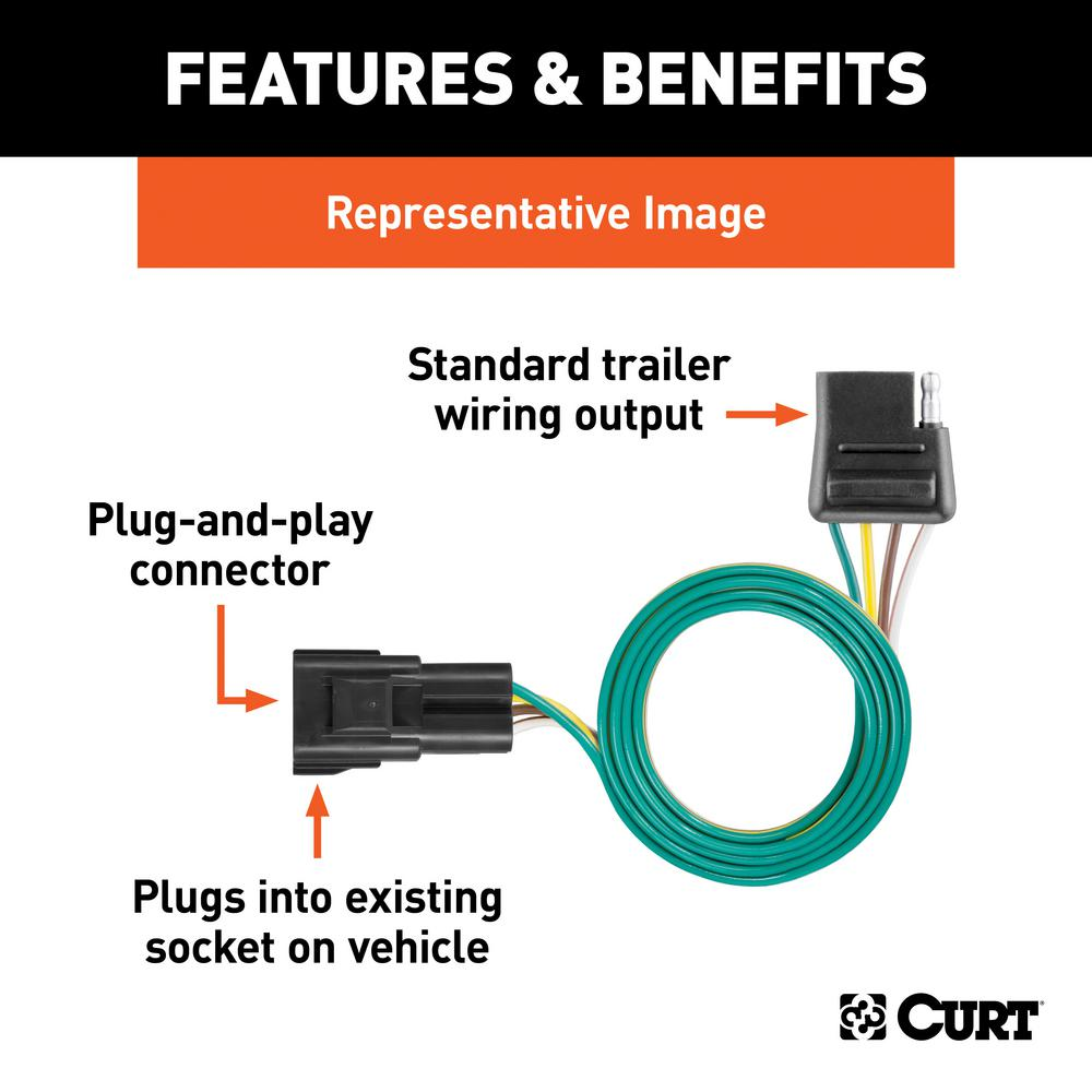 CURT Custom Vehicle-Trailer Wiring Harness, 4-Flat, Select Land Rover Range  Rover, Sport, OEM Tow Package Required-56293 - The Home DepotThe Home Depot