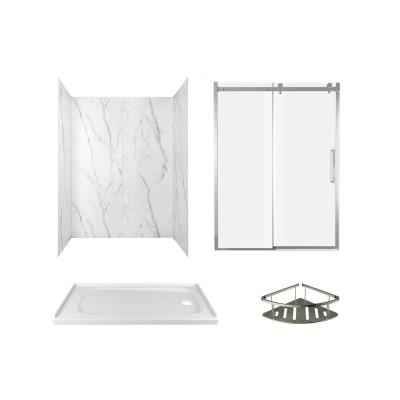 Passage 60 in. x 72 in. Right Drain 4-Piece Glue-Up Alcove Shower Wall, Shelf, Door and Base Kit in Serene Marble
