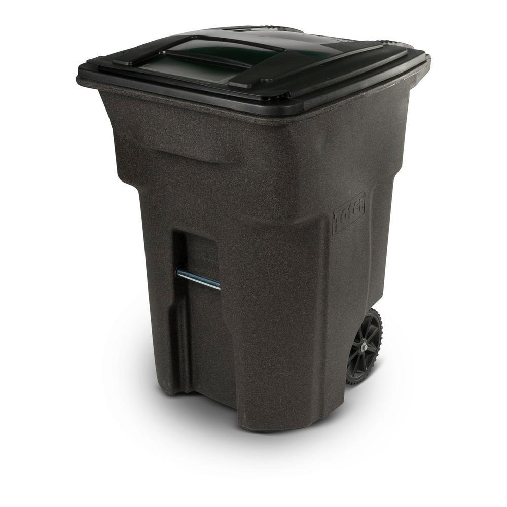 toter 96 gal brownstone trash can with wheels and attached lid 25596 r1279 the home depot. Black Bedroom Furniture Sets. Home Design Ideas