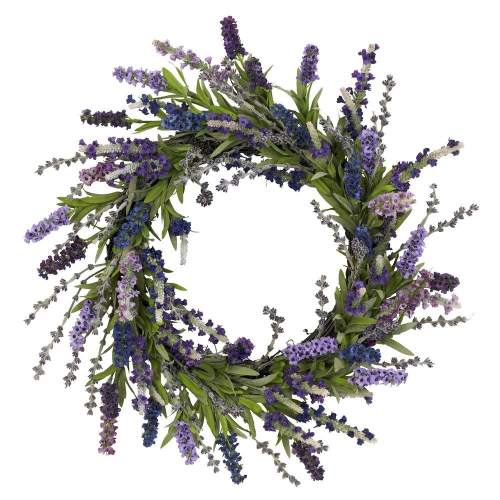 Nearly Natural 20.0 in. H Purple Lavender Wreath