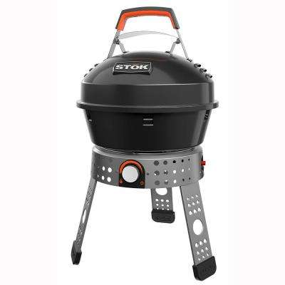 Tourist 104 sq. in. Single Burner Portable Propane Gas Grill in Black with Insert Compatibility
