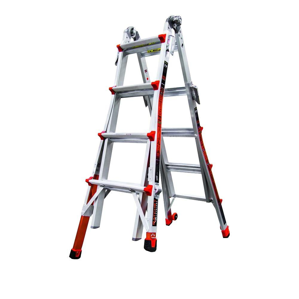 Revolution 17 ft. Aluminum Multi-Use Ladder with Ratcheting Levelers 300 lbs.