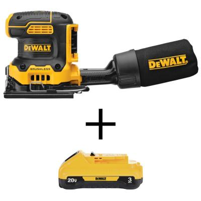 20-Volt MAX Lithium-Ion Cordless Brushless 4-1/2 x 5-1/2 in. 1/4 Sheet Sander with (1) 20-Volt Compact 3.0Ah Battery