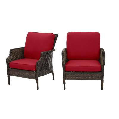 Grayson Brown Wicker Outdoor Patio Lounge with CushionGuard Chili Red Cushions (2-Pack)