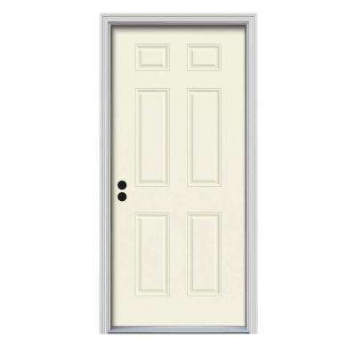 36 in. x 80 in. 6-Panel Vanilla Painted Steel Prehung Right-Hand Inswing Front Door w/Brickmould