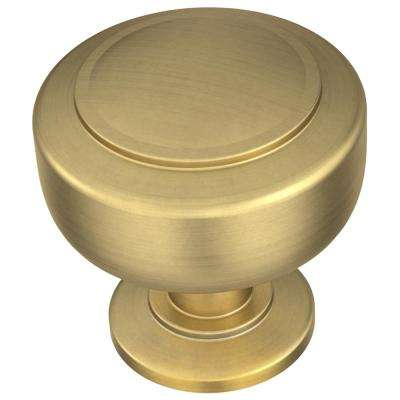 Floating 1-3/16 in. (30 mm) Brushed Brass Cabinet Knob