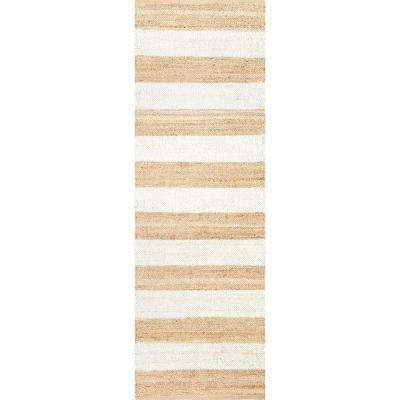 Alisia Stripes Jute Off White 3 ft. x 8 ft. Runner