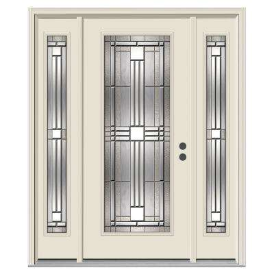 62 in. x 80 in. Full Lite Cordova Primed Steel Prehung Left-Hand Inswing Front Door with Sidelites