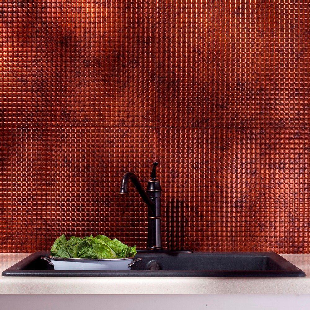 Fasade 24 In X 18 In Squares Pvc Decorative Backsplash