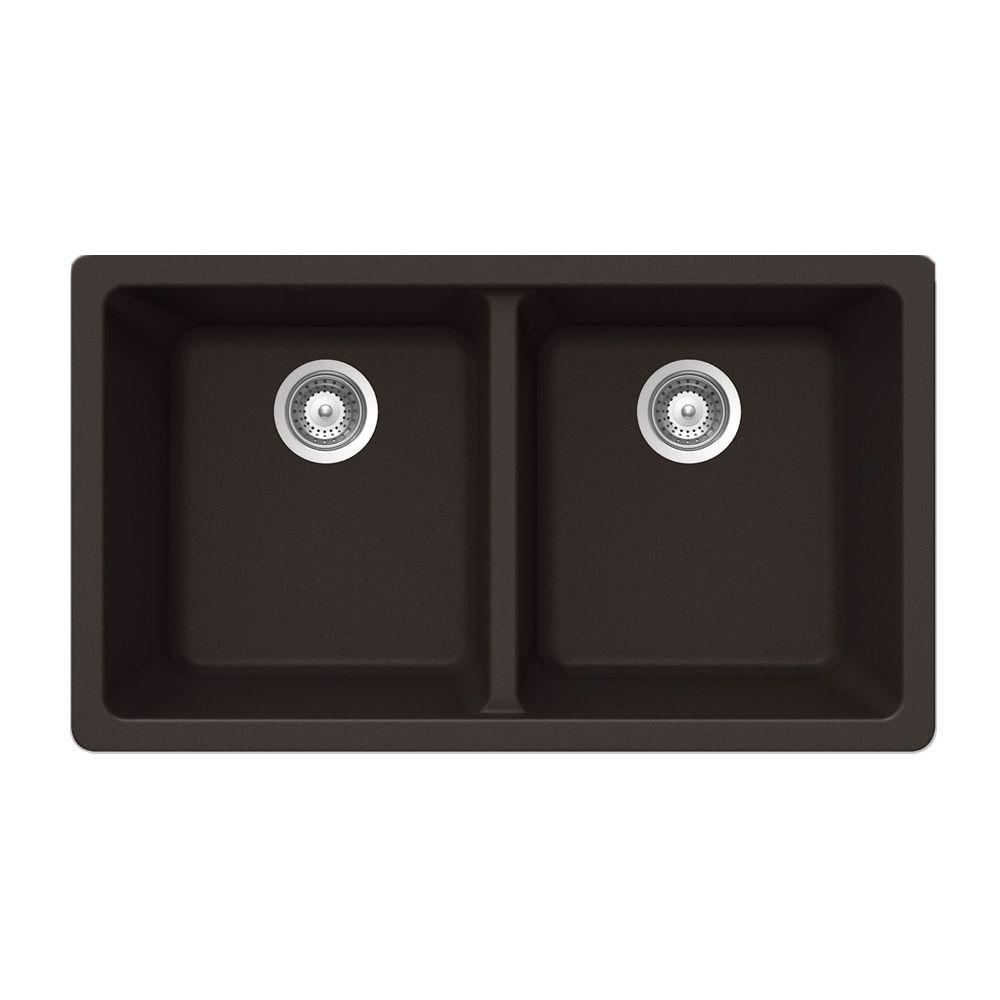 HOUZER Alive Series Undermount Granite 33x18.5x9.5 0-hole Double Basin Kitchen Sink in Chocolate