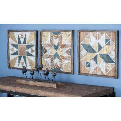 15 in. x 15 in. Rustic Geometric Wooden Wall Panels (Set of 3)