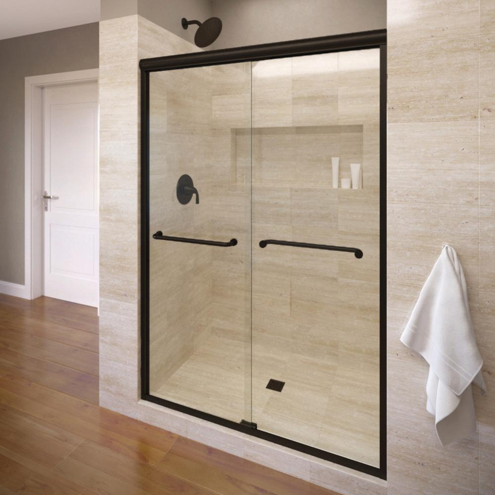 Infinity 58 5 In X 70 Semi Frameless Sliding Clear Gl Shower Door Wrought Iron With Towel Bar