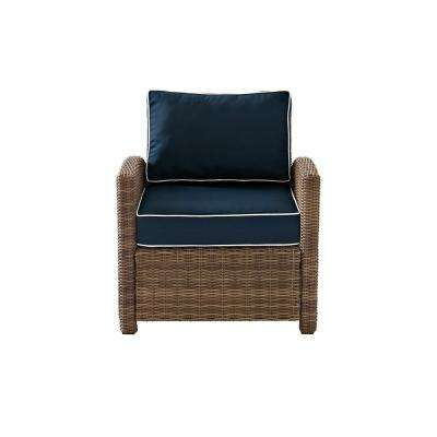 Bradenton Wicker Outdoor Patio Lounge Chair with Navy Cushions