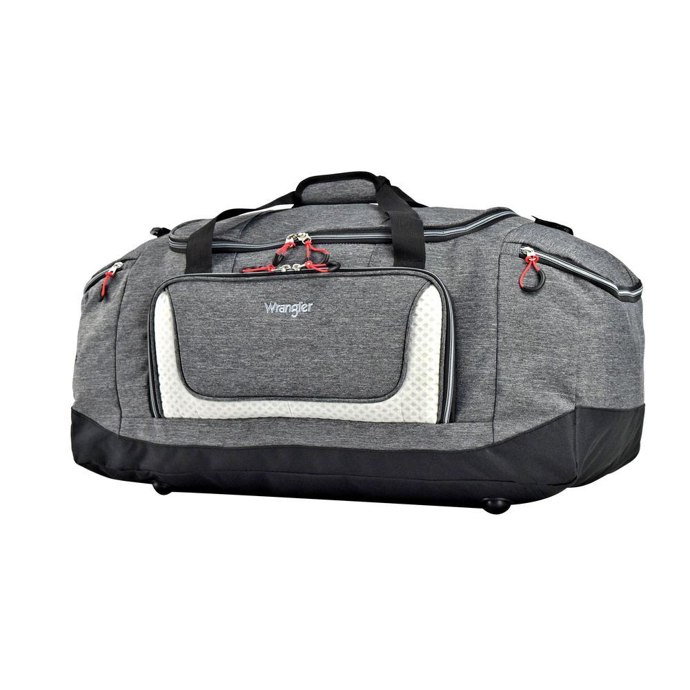 20 in. Heather Gray Multi-Pocket Sport Duffel