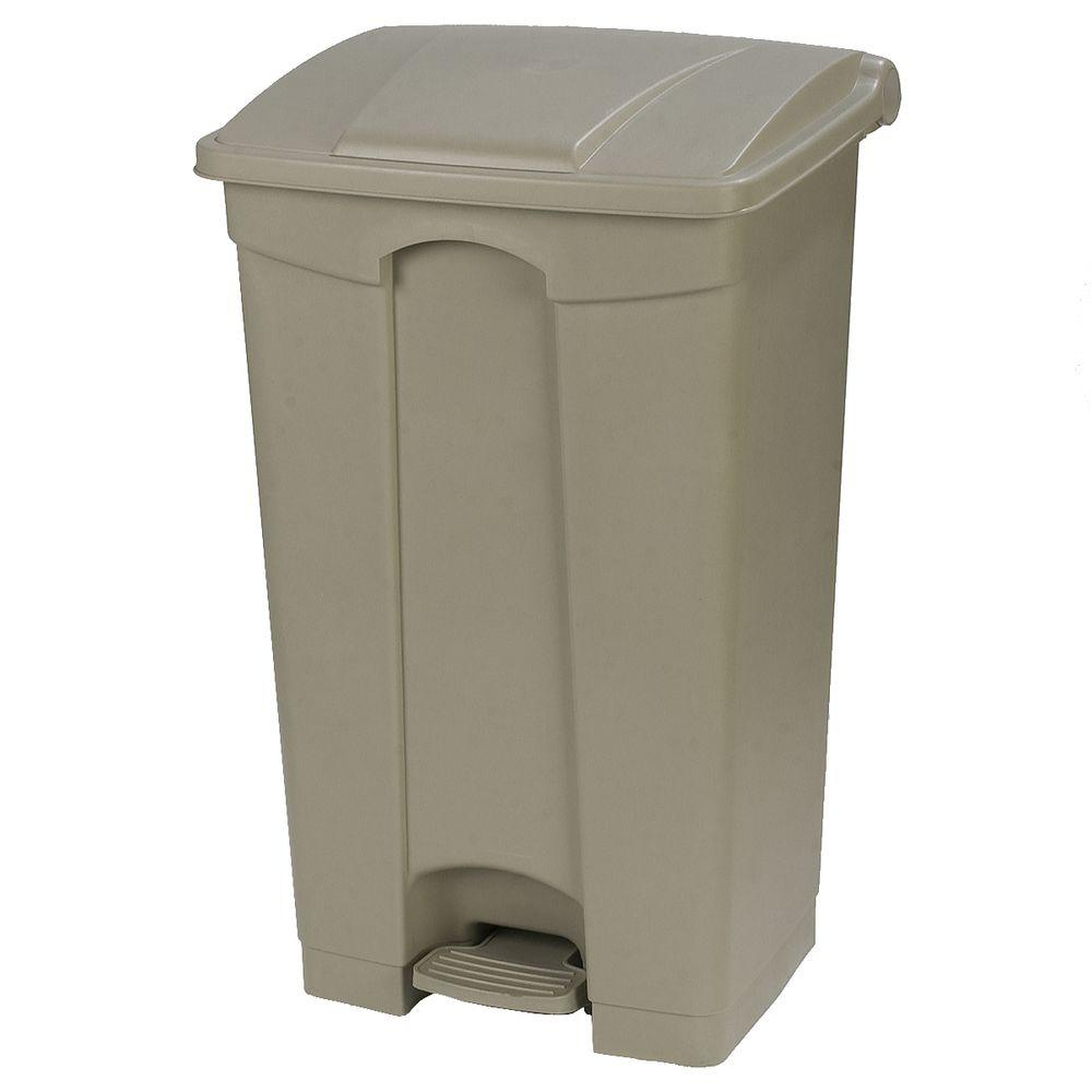 Carlisle 23 gal beige rectangular touchless step on trash can with matching lid 34614602 the - Rectangular garbage cans ...