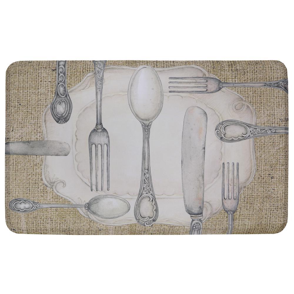 Silverware Oval Multi 18 in. x 30 in. Kitchen Mat