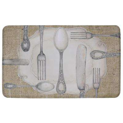 Silverware Oval Multi 18 in. x 30 in. Kitchen Mat
