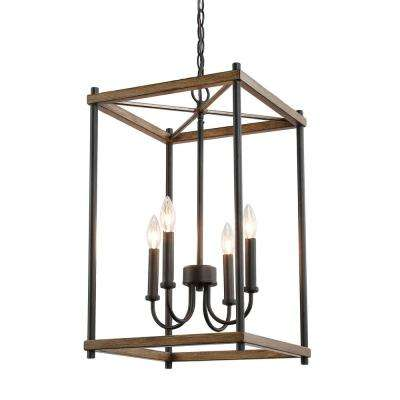 Eniso 14 in. 4-light Black Iron Lantern Pendant Light with Painted Oak Accents