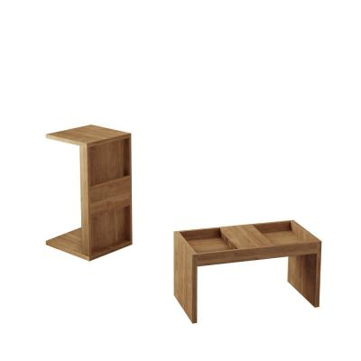 Luxor Paterson 2 Piece 27 In Nature Medium Rectangle Wood Coffee Table Set With Magazine Shelf 2 13lchd1 The Home Depot