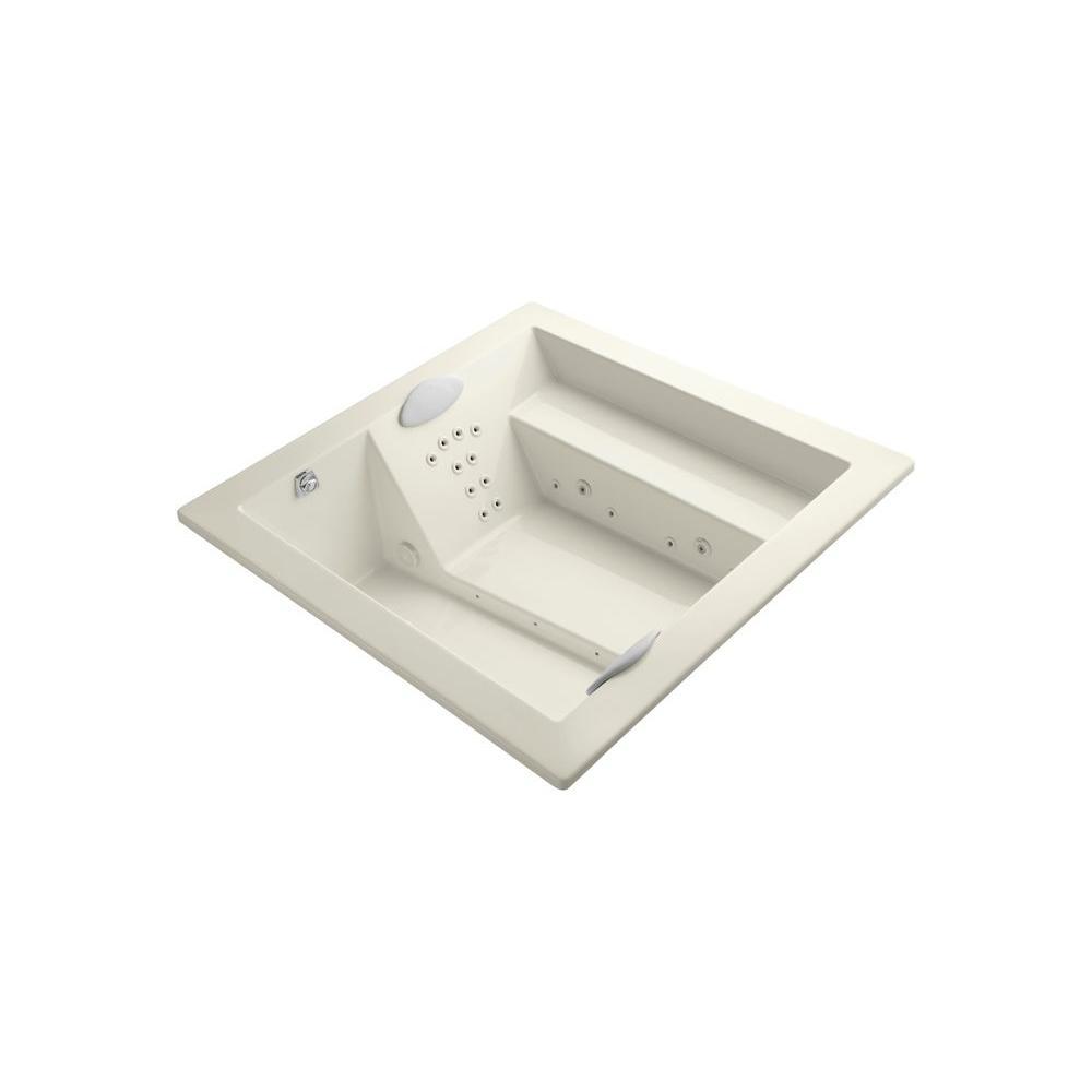 KOHLER Consonance 6 ft. Square Whirlpool Tub in Biscuit-K-1111-VLN ...