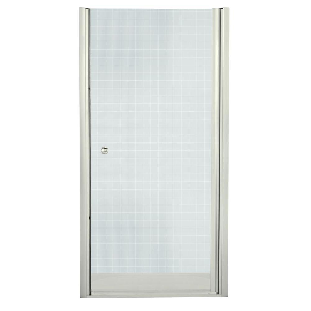 Finesse 31-1/2 in. x 65-1/2 in. Semi-Frameless Pivot Shower Door in Nickel with Handle