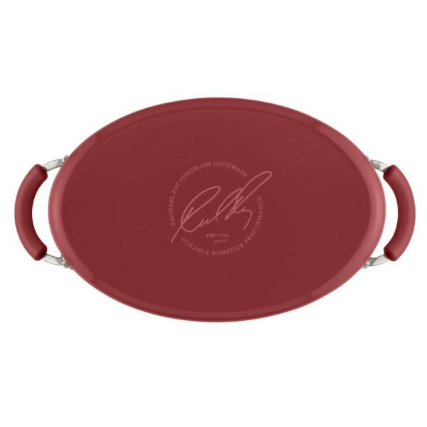 8 Quart Rachael Ray 16343 Cucina Nonstick Pasta Stock Pot with Lid and Spout Cranberry Red