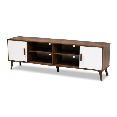 Quinn Walnut and White Modern TV Stand