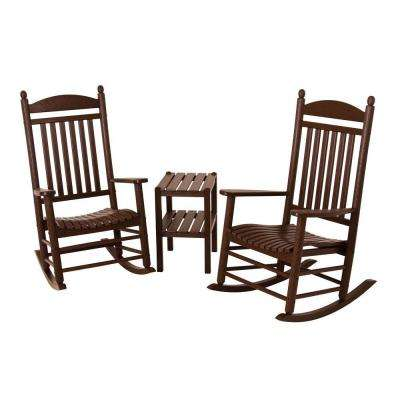 Jefferson Mahogany 3-Piece Patio Rocker Set