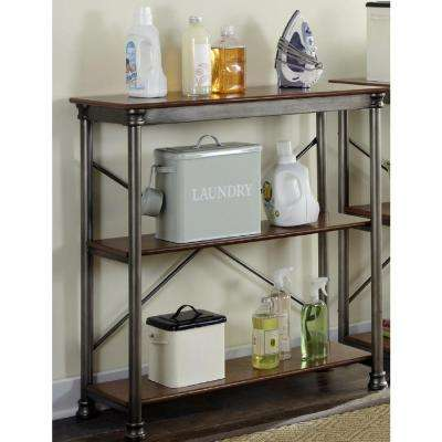 Three Shelf 38 in. W x 39 in. H x 16 in. D, Wood and Steel Orleans Shelving Unit