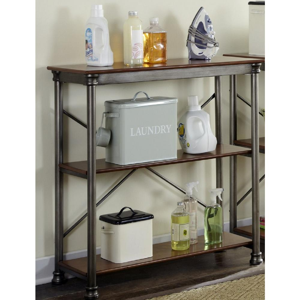 Home Styles Three Shelf 38 in. W x 39 in. H x 16 in. D, Wood and Steel Orleans Shelving Unit