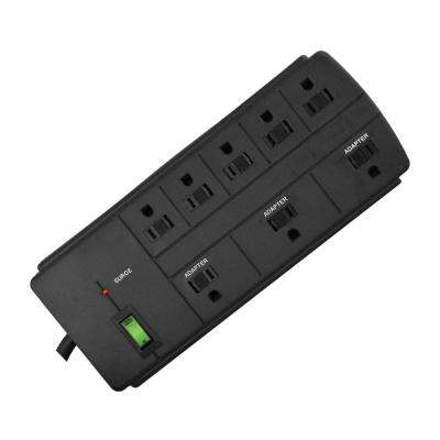 8-Outlet 6 ft. Cord 750-Joules Surge Protector Lighted Rocker Switch, Black