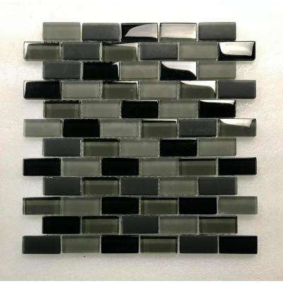 Free Flow Pewter Black Linear Mosaic 1 in. x 2 in. Glass Wall Pool and Floor Tile (0.96 Sq. ft.)