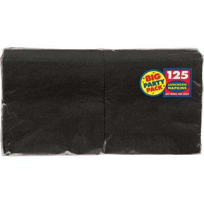 Big Party Pack 6.5 in. x 6.5 in. Black Paper Birthday Lunch Napkin (125-Count, 4-Pack)