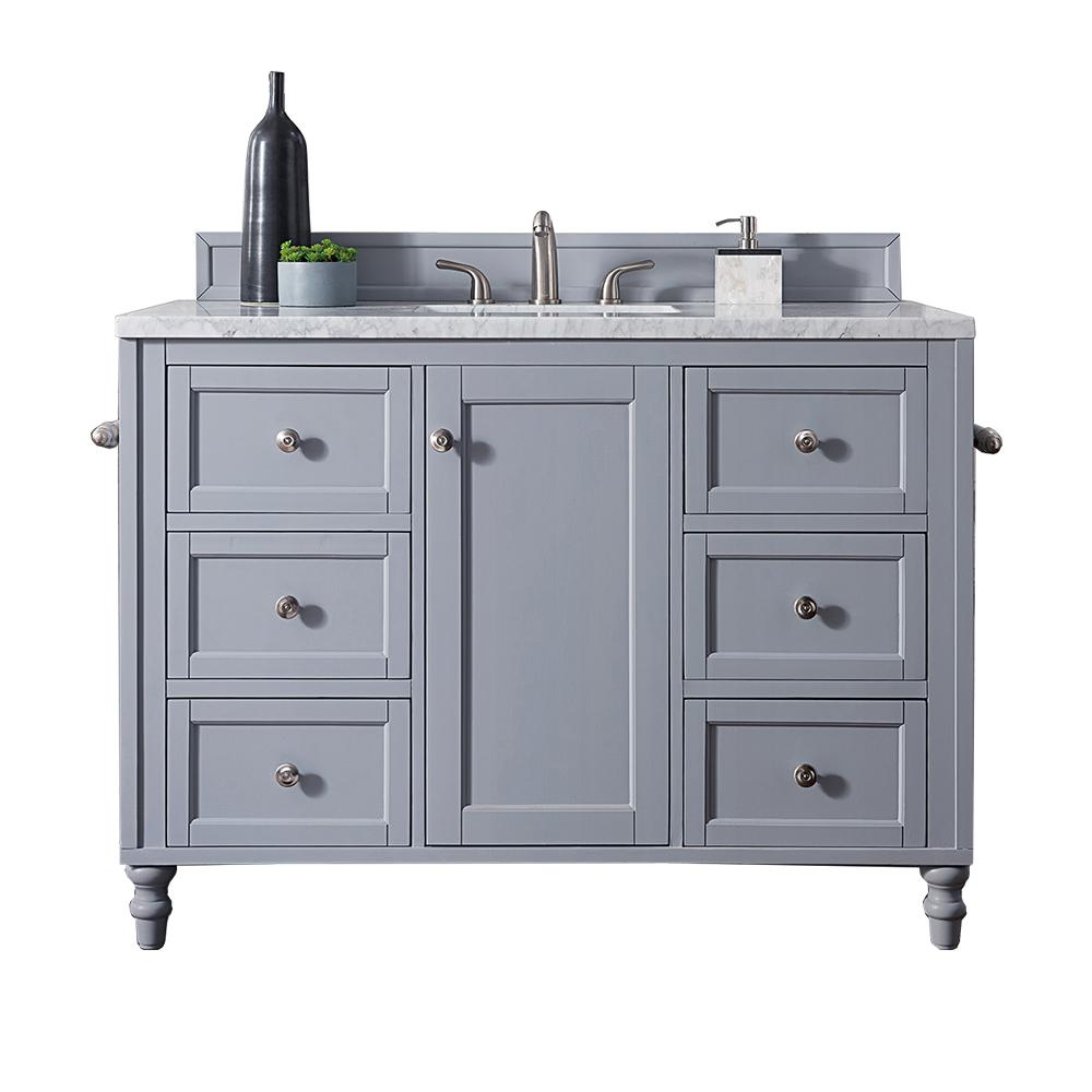 James Martin Vanities Copper Cove Encore 48 in. W Single Vanity in Silver Gray with Soild Surface Vanity Top in Arctic Fall with White Basin