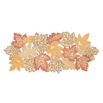 0.1 in. H x 16 in. W x 36 in. D Autumn Leaves Embroidered Cutwork Table Runner in Beige