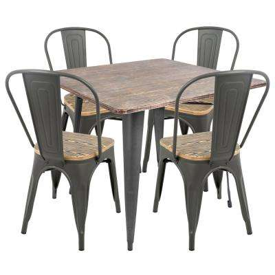 Oregon 5-Piece Grey and Brown Dining Set