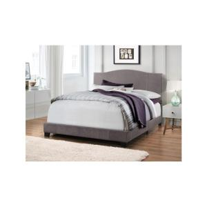 All-in-One Denim Cement Gray Queen Modified Camel Back Upholstered Bed