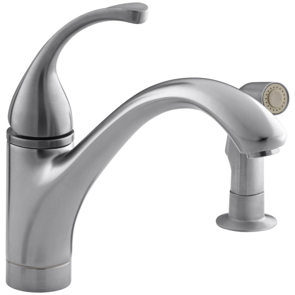 KOHLER Forte Single-Handle Standard Kitchen Faucet with Side Sprayer in  Brushed Chrome