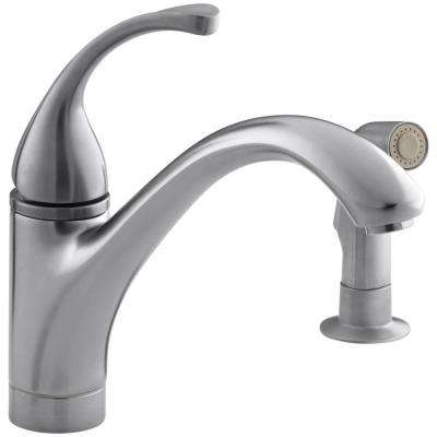 Forte Single-Handle Standard Kitchen Faucet with Side Sprayer in Brushed Chrome