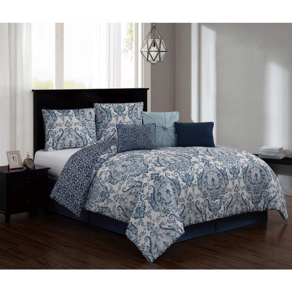 Kadia 7 Piece Blue King Comforter Set W Bedskirt Kad7cskingghbl